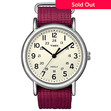 619-400 - Timex Women's Weekender Silver-tone Slip Through Fuchsia Strap Watch