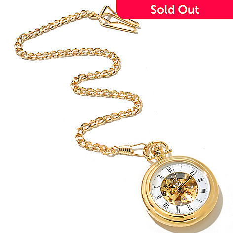 619-438 - Stührling Original Mechanical Skeletonized Dial Stainless Steel Pocket Watch