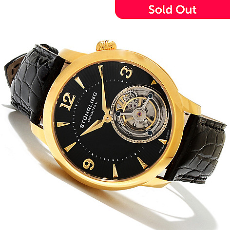 619-443 - Stührling Original Men's Eclipse Limited Edition Mechanical Tourbillon Alligator Strap Watch