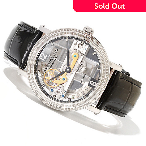 619-446 - Stührling Original Men's Brumalia Limited Edition Automatic Leather Strap Watch