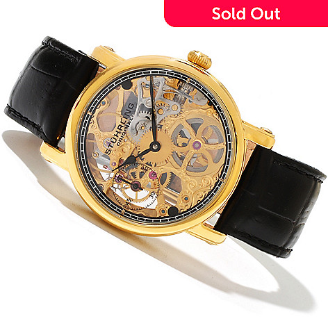 619-447 - Stührling Original Men's Avon Mechanical Skeletonized Dial Leather Strap Watch