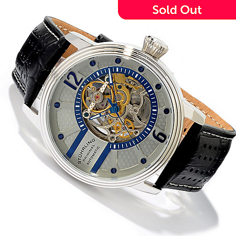 619-456 - Stührling Original Men's Prospero Skeleton Automatic Leather Strap Watch