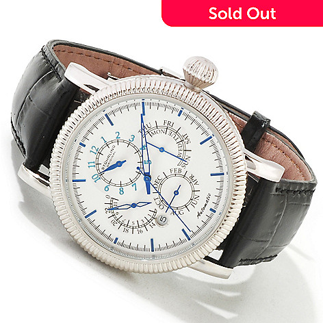 619-458 - Stührling Original Men's Timemaster Symphony Automatic Master Calendar Leather Strap Watch