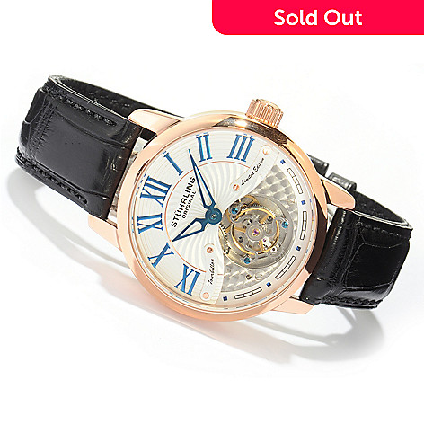 619-459 - Stührling Original Men's Limited Edition Dynasty Tourbillon Mechanical Alligator Strap Watch