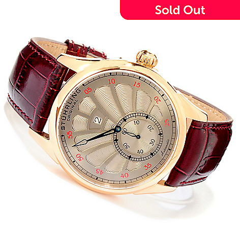 619-462 - Stührling Original Men's Patriarch Automatic Exhibition Back Leather Strap Watch