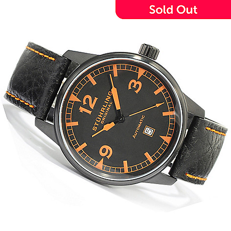 619-463 - Stührling Original Men's Tuskegee Flier Automatic Leather Strap Watch