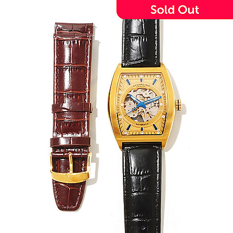 619-464 - Stührling Original Men's Millenia Visionaire Automatic Interchangeable Leather Strap Watch