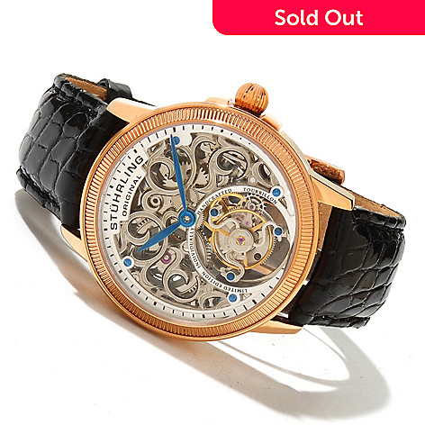 619-465 - Stührling Original Men's Mirage Limited Edition Mechanical Tourbillon Crocodile Strap Watch