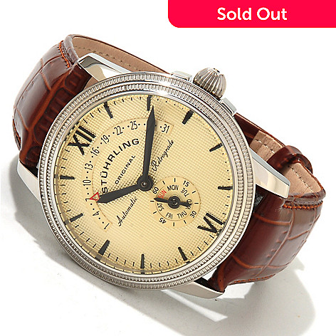 619-468 - Stührling Original Men's Saturnalia Chairman Automatic Leather Strap Watch