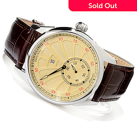 619-471 - Stührling Original Men's Patriarch Automatic Exhibition Back Leather Strap Watch