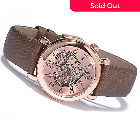 619-477 - Stührling Original Women's Cupid Skeleton Automatic Leather Strap Watch