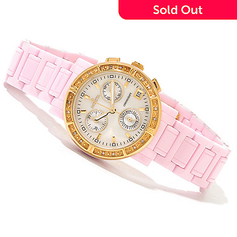 619-486 - Invicta Women's Ceramics Classique Quartz Chronograph Mother-of-Peal Dial Ceramic Bracelet Watch