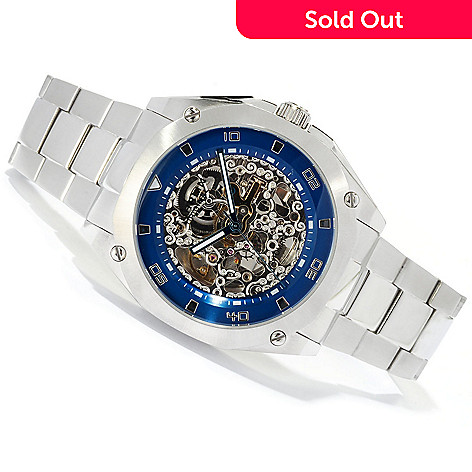 619-501 - Stührling Original Men's Gallant Automatic Skeletonized Dial Stainless Steel Bracelet Watch