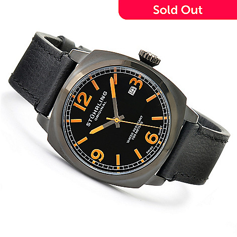 619-515 - Stührling Original Men's Eagle Quartz Leather Strap Watch