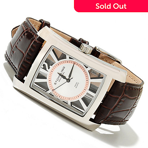 619-520 - Stührling Original Men's Gatsby Quartz Stainless Steel Leather Strap Watch