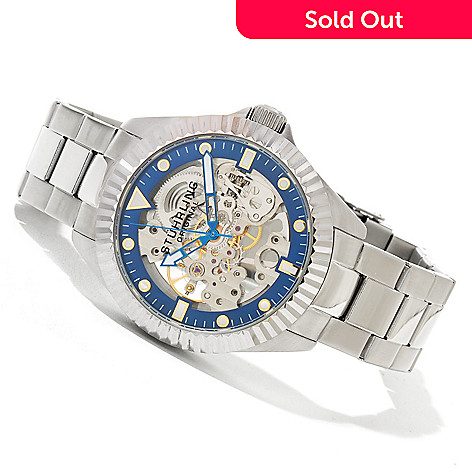 619-521 - Stührling Original Men's Diadem Mechanical Skeletonized Stainless Steel Bracelet Watch