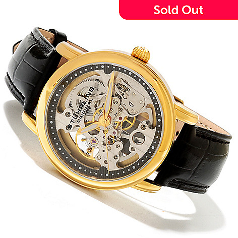 619-522 - Stührling Original Men's or Women's Delphi Mechanical Skeletonized Dial Leather Strap Watch