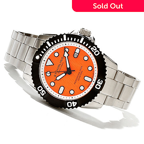 619-523 - Stührling Original Men's Professional Diver Quartz Stainless Steel Bracelet Watch