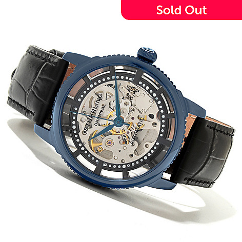619-524 - Stührling Original Men's Winchester Automatic Skeletonized Leather Strap Watch