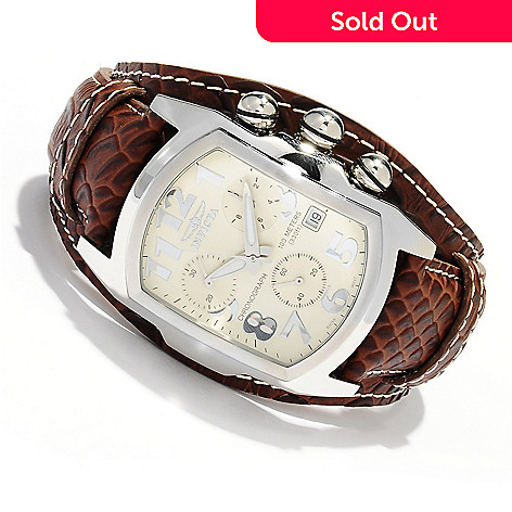 619-539 - Invicta Men's Lupah Swiss Quartz Chronograph Stainless Steel Leather Strap Watch