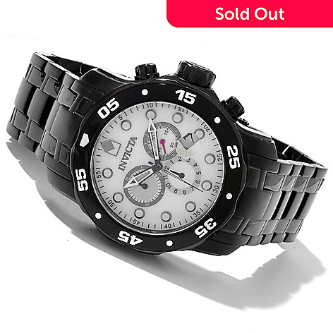 619-546 - Invicta Men's Pro Diver Scuba Quartz Chronograph Mother-of-Pearl Dial Stainless Steel Bracelet Watch
