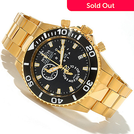 619-551 - Invicta Reserve Men's Pro Diver Swiss Quartz Chronograph Gold-tone Stainless Steel Bracelet Watch