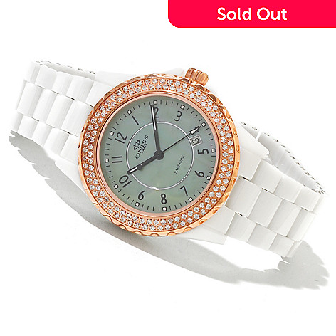619-556 - Oniss Women's Bello Princess Crystal Accented Ceramic Bracelet Watch
