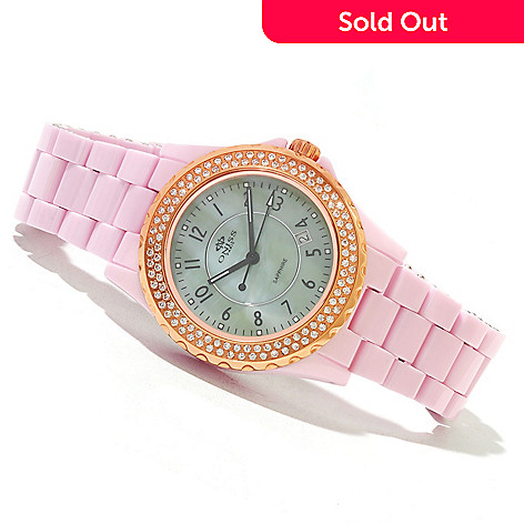 619-564 - Oniss Women's Bello Princess Crystal Accented Ceramic Bracelet Watch