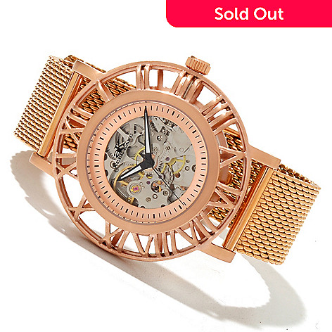 619-566 - Adee Kaye Men's Helm Pirate Automatic Skeletonized Rose-tone Bracelet Watch