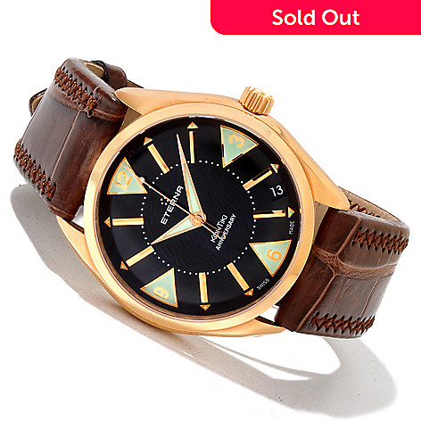 619-623 - Eterna Men's Kontiki Limited Edition Swiss Made Automatic 18K Rose Gold Alligator Strap Watch
