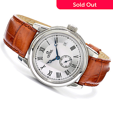 619-635 - Gevril Men's Madison Limited Edition Swiss Made Automatic Stainless Steel Leather Strap Watch