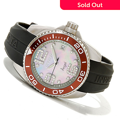 619-654 - Invicta Women's Angel Quartz Mother-of-Pearl Stainless Steel Strap Watch w/ 3-Slot Dive Case