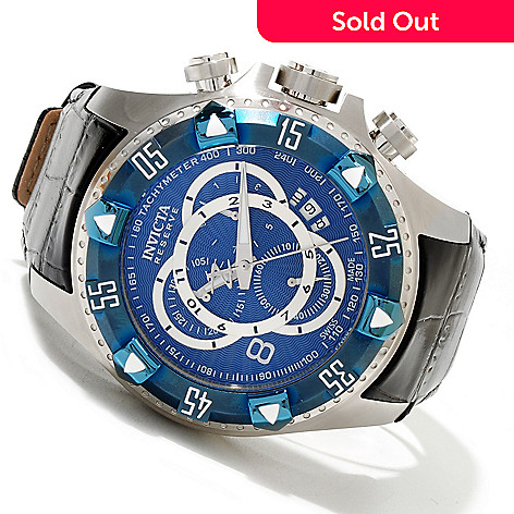 619-663 - Invicta Reserve Men's Excursion Swiss Quartz Chronograph Leather Strap Watch