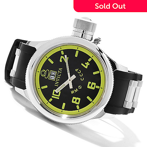 619-666 - Invicta 52mm Russian Diver Quartz Stainless Steel Polyurethane Strap Watch w/ Three-Slot Dive Case