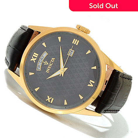 619-710 - Invicta Men's Vintage Quartz Stainless Steel Leather Strap Watch