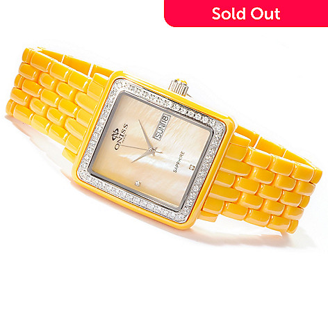 619-777 - Oniss Women's Finesse Ceramic Quartz Mother-of-Pearl Crystal Accented Bracelet Watch