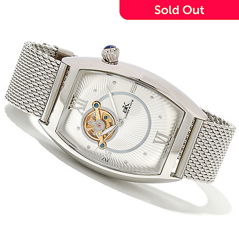 619-778 - Adee Kaye Men's Wall Street Automatic Open Heart Stainless Steel Mesh Bracelet Watch