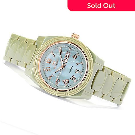 619-789 - Oniss Women's Dream Quartz Crystal Accented Ceramic Bracelet Watch