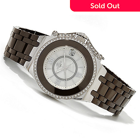 619-792 - Oniss Women's Fantasy Quartz Austrian Crystal Accented Ceramic Bracelet Watch