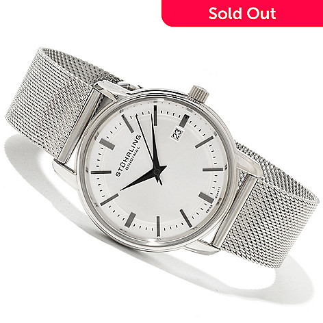 619-803 - Stührling Original Men's Monmouth Quartz Stainless Steel Mesh Bracelet Watch