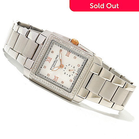 619-804 - Stührling Original Women's Lady Regency Quartz Diamond Accented Stainless Steel Bracelet Watch