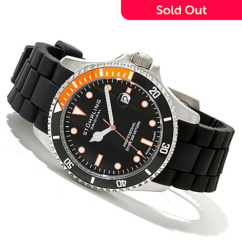 619-805 - Stührling Original Men's Regatta Diver Sport Quartz Stainless Steel Rubber Strap Watch