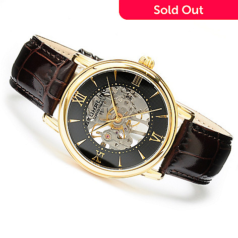619-836 - Stührling Original Men's Chamberlain Mechanical Skeletonized Stainless Steel Strap Watch
