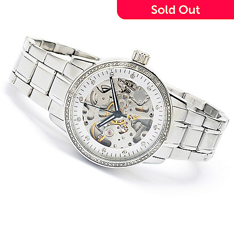 619-837 - Stührling Original Women's Lady Delphi Automatic Stainless Steel Bracelet Watch