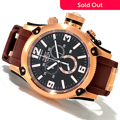 619-927 - Invicta Men's Russian Diver Quartz Chronograph Polyurethane Strap Watch w/ 8-Slot Dive Case