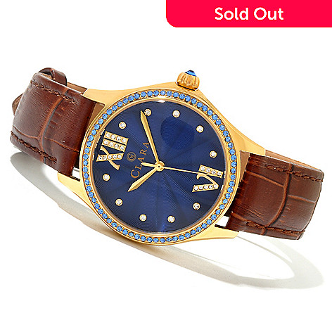 619-946 - Clara by CW Women's Quartz Leather Strap Watch Made w/ Swarovski® Elements