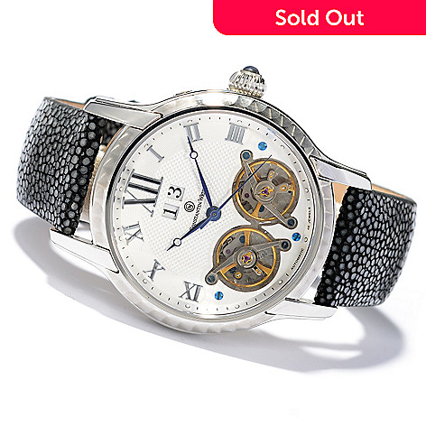 619-950 - Constantin Weisz Men's Automatic Leather Strap Watch w/ 10-Slot Watch Box