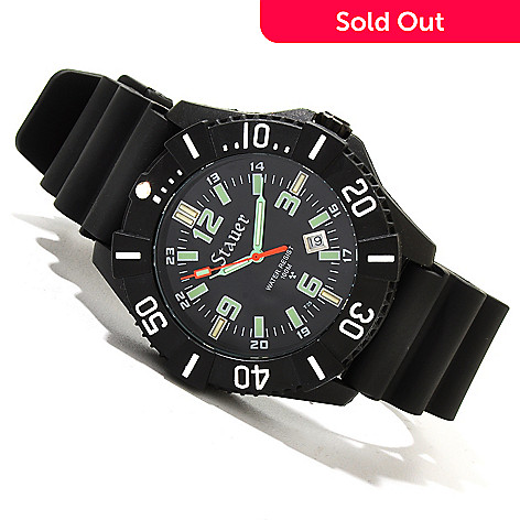 619-959 - Stauer Men's Stealth Tritium Quartz Black Rubber Strap Watch