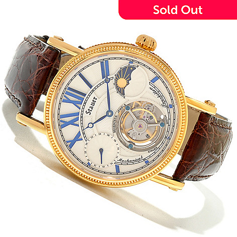 619-960 - Stauer Men's Bravura Mechanical Tourbillon Crocodile Strap Watch