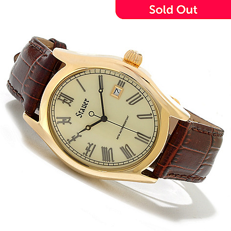 619-961 - Stauer Men's Briton Quartz Tonneau Case Brown Leather Strap Watch